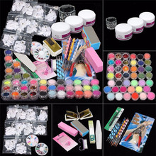 ColorWomen  37 in 1 Professional Manicure Set Acrylic Glitter Powder French Nail Art Decor Tips Set 160927 Drop Shipping