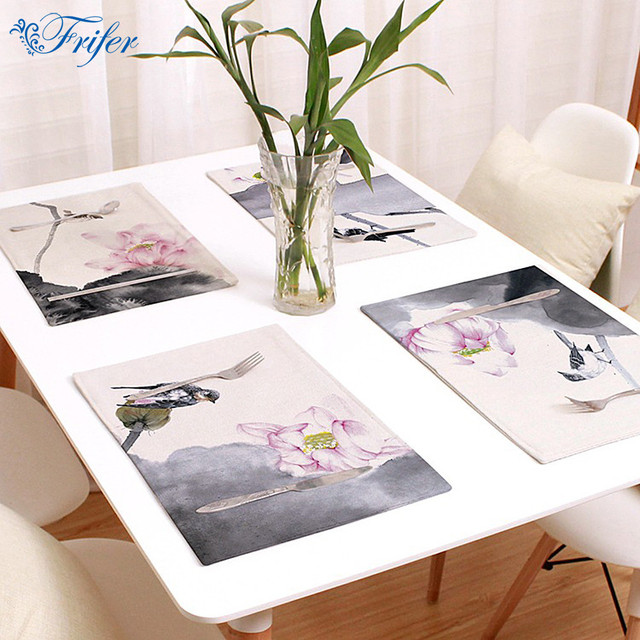 Elegant 44x28cm Western Pad Cotton Linen Hand Painted Placemat Insulation Dining  Table Mat Bowls Coasters Kitchen Accessories