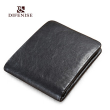 Difenise England style Men Short Clutch Wallets The first layer leather High quality Solid men's Mini wallets Large Capacity