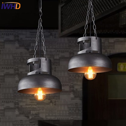 IWHD Iron Industrial Hanging Lamp Loft Style Vintage Retro Pendant Light Fixtures Living Room Kitchen Home Lighting iwhd loft style round glass edison pendant light fixtures iron vintage industrial lighting for dining room home hanging lamp