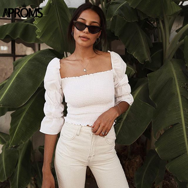 Aproms Vintage Square Neck Smocked Blouse Shirt Women Puffed 3/4 Sleeve White Crop Top Summer High Street Slim Blouse Blusa 2019