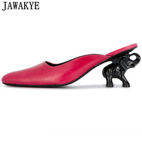 JAWAKYE 2018 Newest rose green black round toe Slippers women flip flops elephant high heels mules runway style shoes women