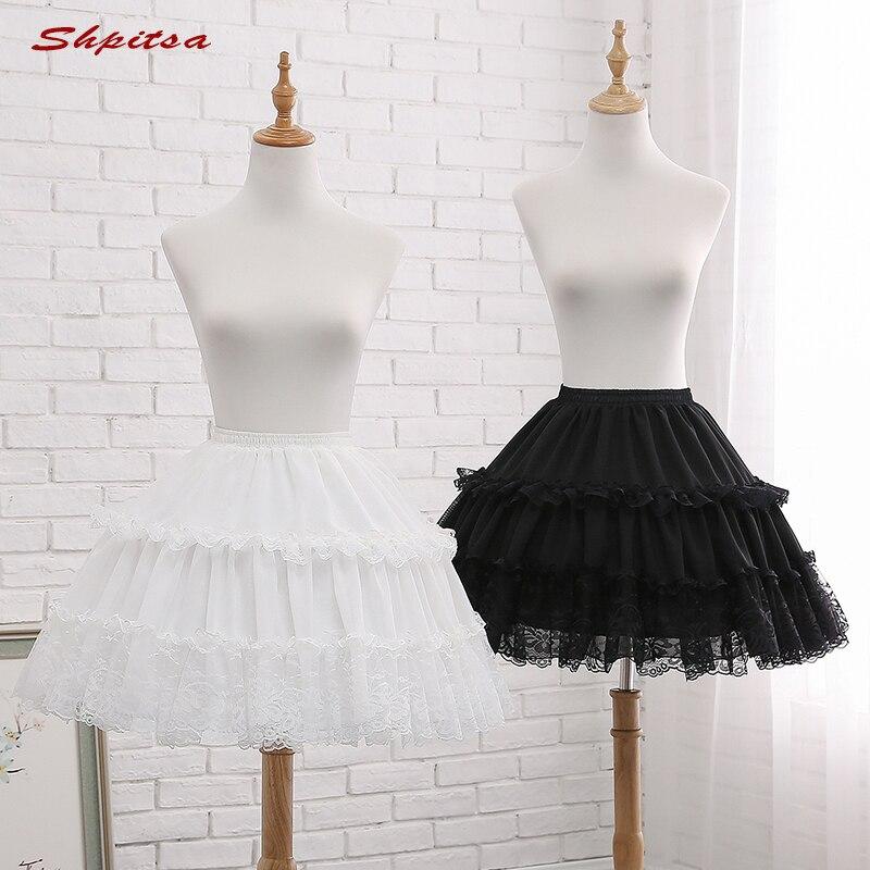 White Or Black 2 Hoops Lolita Petticoat Rockabilly Short Petticoats For Wedding Underskirt Crinoline Woman Hoop Skirt