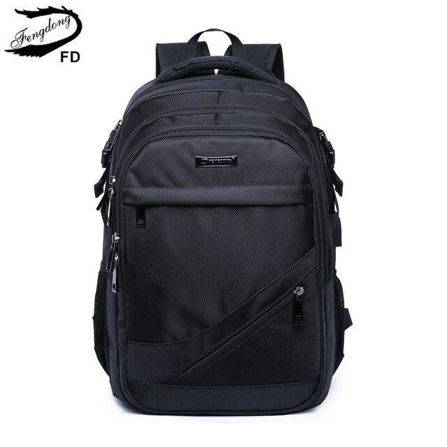 FengDong Черные Водонепроницаемые Большой Школьный Рюкзак usb мешок мужские дорожные сумки мальчик сумка для ноутбука 15,6 высокой школьные сумки для мальчиков школьный