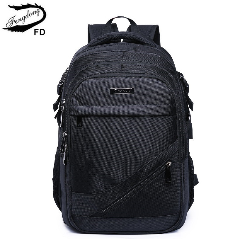 FengDong black waterproof large school backpack usb bag men travel bags boy laptop bag 15.6 high school bags for boys schoolbag