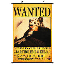 One Piece Wanted Poster Scroll Wall Art Picture Luffy Canvas Painting Posters