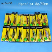 NEW TSURINOYA DW63 14PCS/LOT 50mm/5g Sinking Minnow Hard bait Fishing Lures Mini Crankbait Treble hook Artificial
