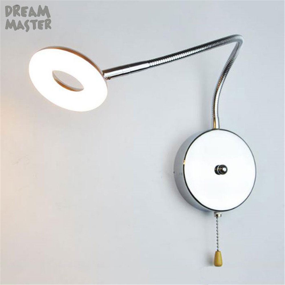 Modern Pull Chain Switch L35cm Hose LED Wall Lamp 5W Flexible Arm Light Lamp Bedside Reading Light Study Painting Wall Lighting wall light silver black led modern wall lamp with plug 3w 270lm flexible arm bedside reading light study painting wall lighting
