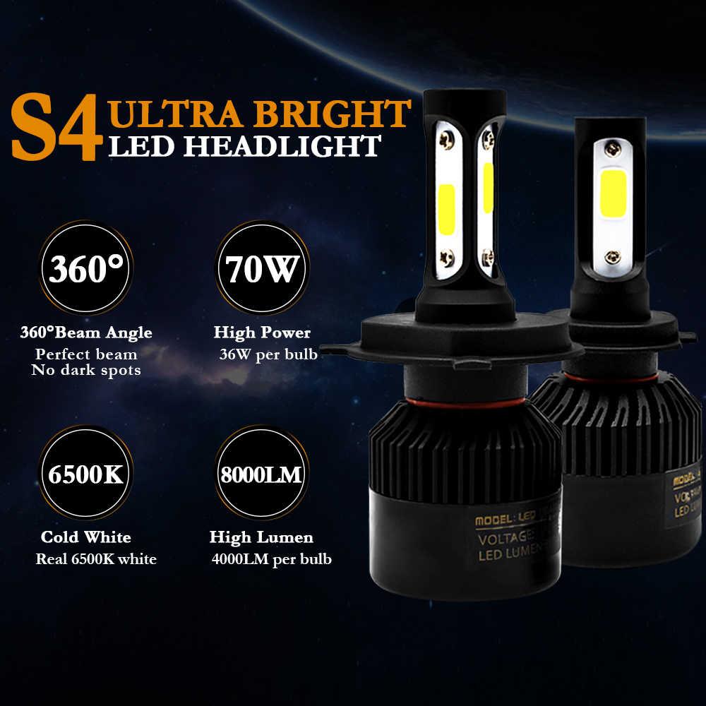 2Pcs H1 LED H11 H7 H4 H3 HB4 HB3 H8 H27 9005 9006 אוטומטי רכב פנס נורות 72W 8000LM רכב אור 6000k led automotivo DC12V 24V