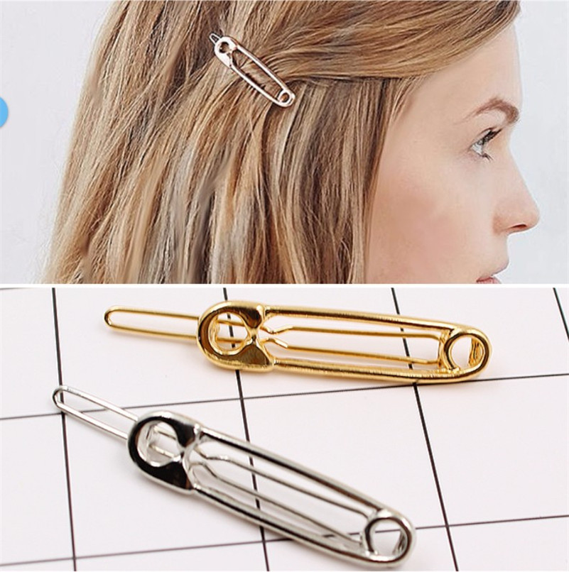 Fashion Brooch Shaped Hair Clips For Women Simple Metal Pin Shape Hair Ornaments Bang Clips Silver Gold Girls Hair Accessories