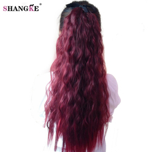 "SHANGKE Hair 22"" Long Curly Ponytail Wine Red Pony Tail For Black Women  Heat Resistant Synthetic Ponytail Fake Hair Pieces"
