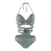 Vertvie Sexy High Waist Women Bikini Set 2018 Solid Cross Bandage Halter Swimsuit New Swimwear Maillot De Bain Brazilian Biquini