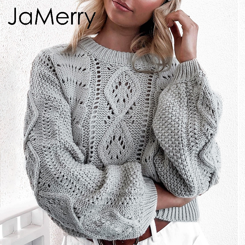JaMerry Vintage Hollow Out Knitted Women Pullover Sweater Lantern Sleeve Female Autumn Winter Sweater O-neck Casual Jumper 2019