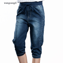 Women jeans elasticity jeans woman large size 5XL Capri Jeans for women Lace Up female sexy vintage Skinny blue Pencil Pants