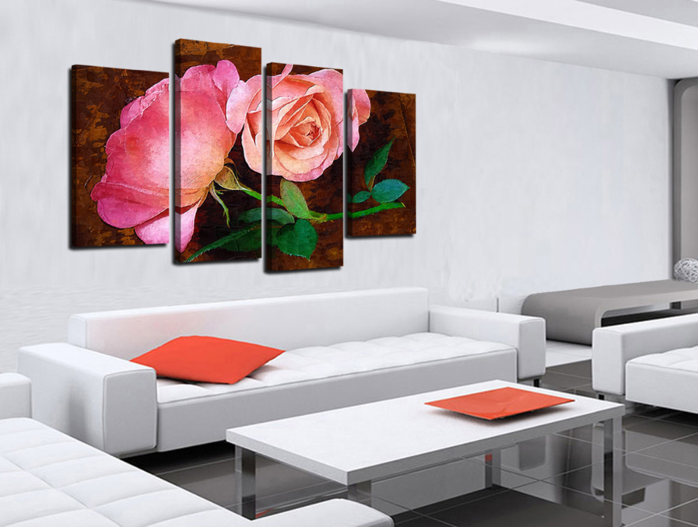 Aliexpress.com : Buy 4 Panel Beautiful Red Roses Large HD Picture Modern  Home Wall Decor Canvas Print Painting For House Decorate Without Frame From  ... Part 79