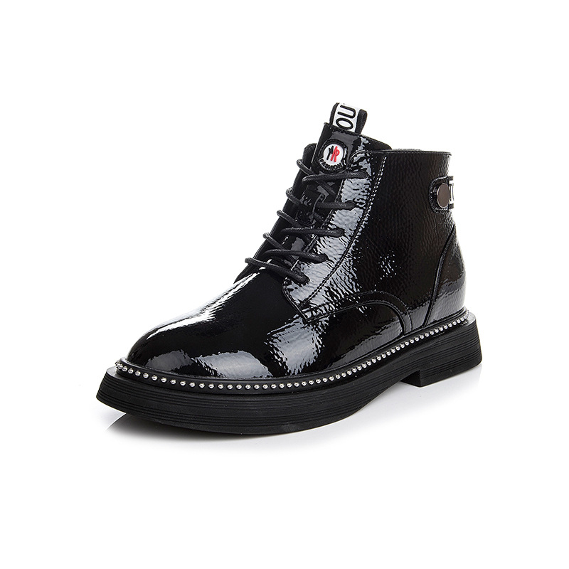 Shoes female Martin boots Europe America 2018 autumn winter new fashion wild short boots patent leather waterproof Woman's boots цена и фото