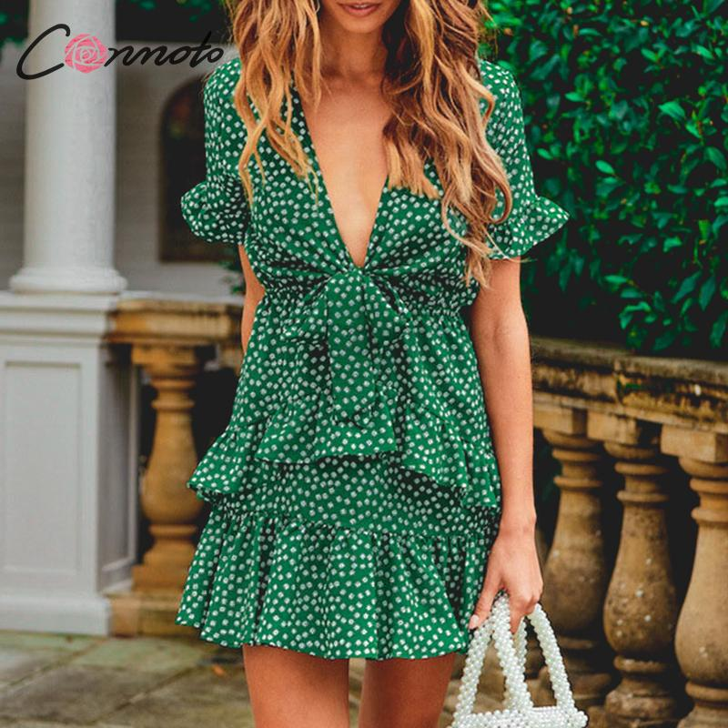 Conmoto Sexy Vintage Female Deep V Dress Green Summer 2019 Casual Dresses Beach Bohemian Ruffle Flounce Dress Vestidos Plus Size