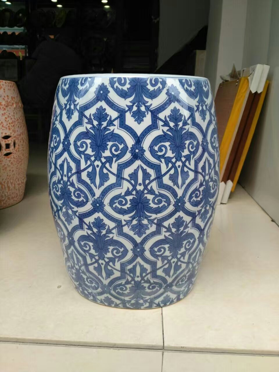 Blue And White Antique Stool For Dressing Table Drum Stool