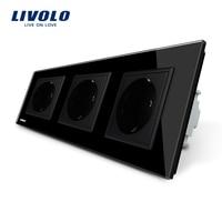 Livolo EU Standard Socket Black Crystal Toughened Glass Outlet Panel Multi Function Triple Wall Power Sockets