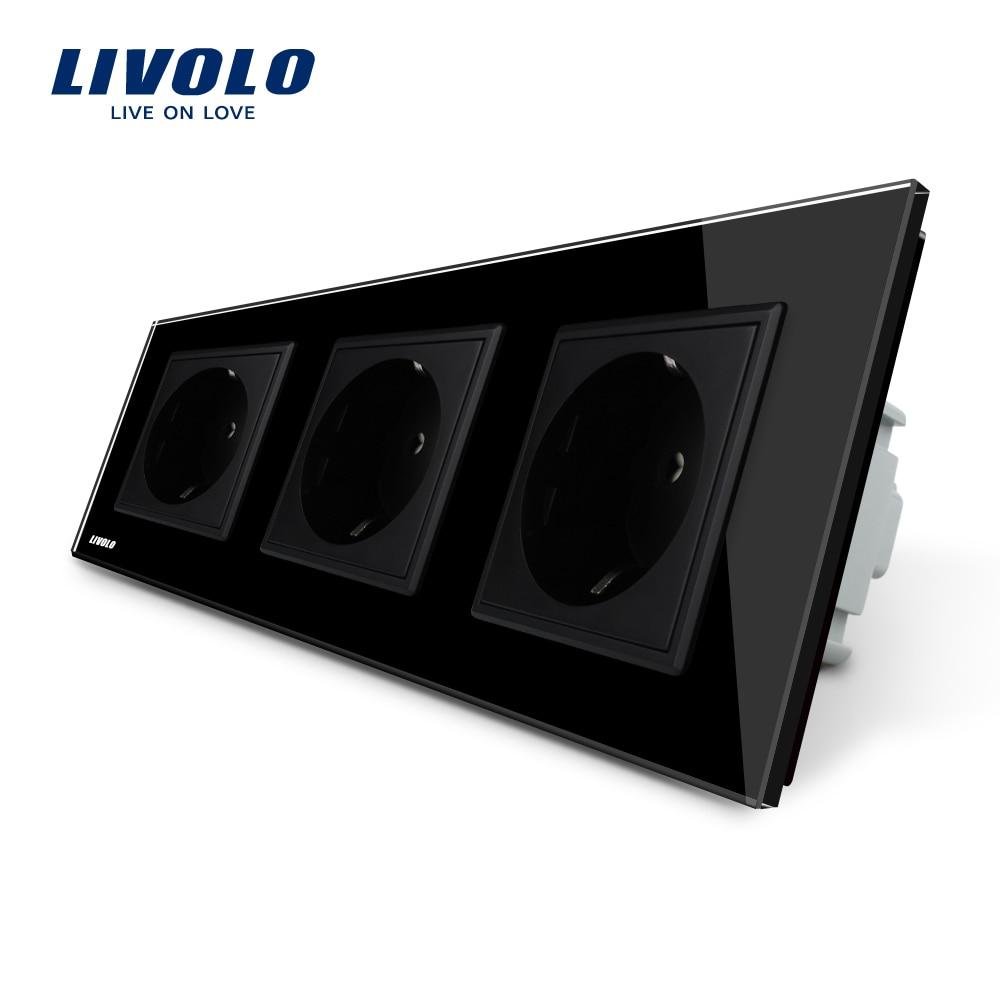 Livolo EU Standard Socket, Black Crystal Toughened Glass Outlet Panel, Triple Wall Power Sockets Without Plug,VL-C7C3EU-12