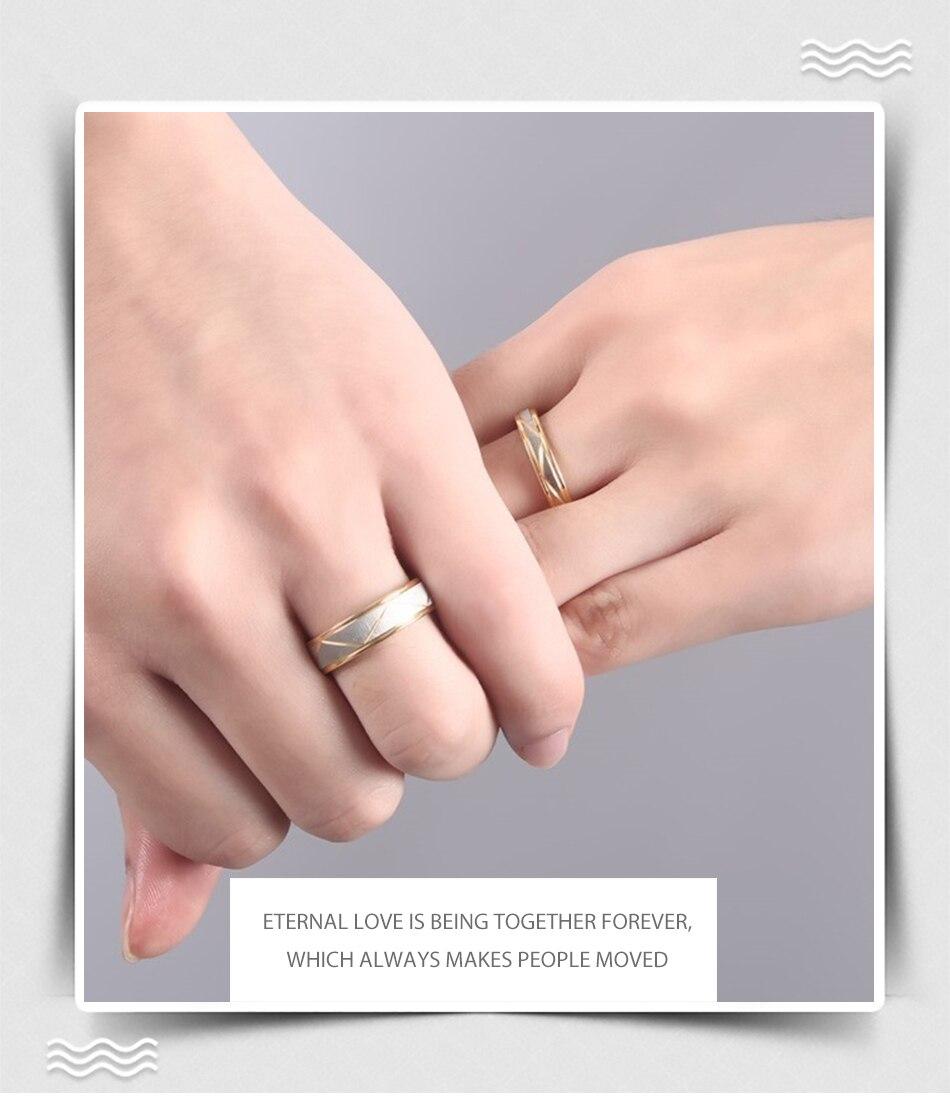 Hot Sale Simple Titanium Steel Gold Color Couple Rings for Men Women ...
