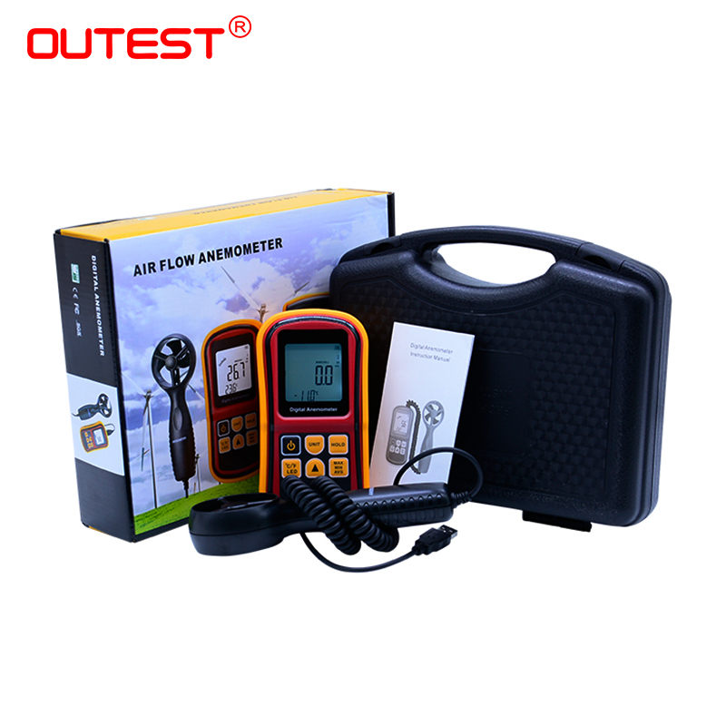 OUTEST GM8901 45m/s (88MPH) LCD Digital Hand-held Wind Speed Gauge Meter Measure Anemometer Thermometer with Carry box with carry box lcd digital anemometer as806 0 45m s wind speed sensor hand held anemometer thermometer air speed meter