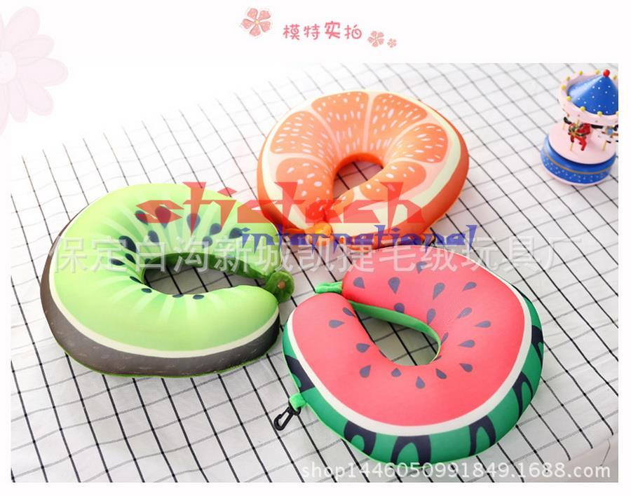 Beducht Door Dhl 100 Pcs Fruit U Vormige Reizen Kussen Kussen Nanodeeltjes Auto Nek Kussen Zacht Kussen Thuis Textiel