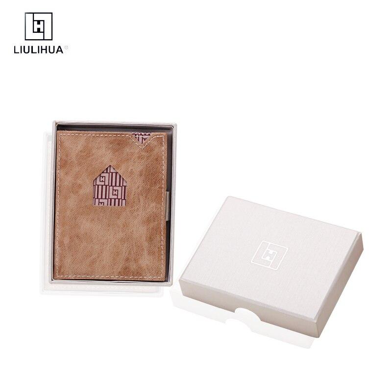 Portefeuille en cuir véritable à trois plis llh marque hommes mode sac à main homme porte-carte de crédit portefeuille court porte-cartes de banque Mini portefeuille