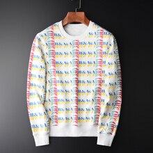 Minglu 100% bawełniane bluzy męskie luksusowe Allover nadrukowane okrągłe kołnierz męskie bluzy z kapturem Plus rozmiar 3XL 4XL wiosenna bluza mężczyzna