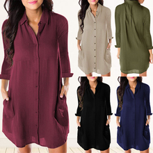 HEFLASHOR Casual Solid Button Blouse Women Full Sleeve V-nec