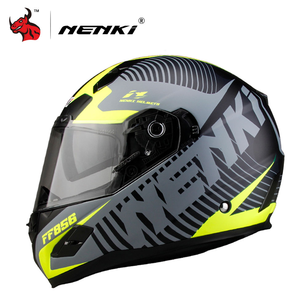 NENKI Men Women Motorcycle Helmet DOT Certification Fiberglass Shell Street Bike Racing Motorbike Riding Helmet Capacete De Moto nenki motorcycle helmets motocross racing helmet motorbike full face helmet capacete de moto for men and women 13 color