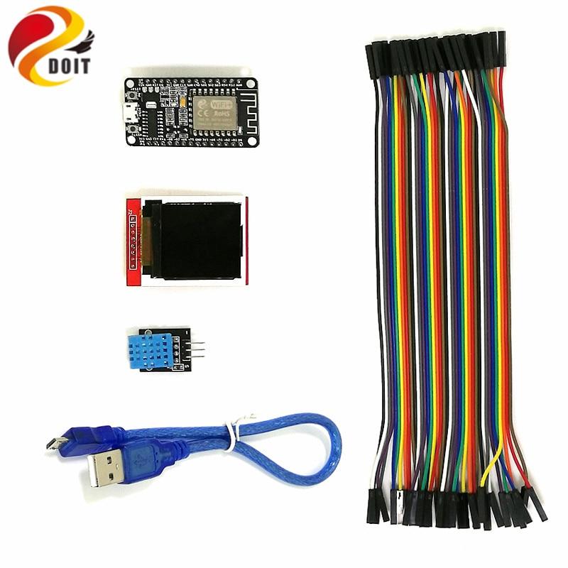 DOIT Arduino WiFi ESP8266 Starter Kit for IoT, NodeMCU Wireless,1.44'' inch LCD Module, DHT11 Temperature/ Humidity Sensor DIY starter learning high quality sensor module kit set for arduino mega2560 leonardo