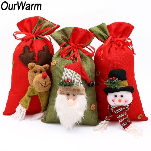 Us 108 20 Offourwarm 3d Grote Kerst Cadeau Zakken Nieuwjaar Candy Bag Kerstman Rode Koord Kerst Kids Gift Bag 2019 Xmas Decoratie In Ourwarm 3d