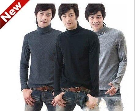 Herenkleding mannelijke lange mouwen coltrui thermische top 100% katoen basic shirt alleen bey lange onderbroek aanpassen