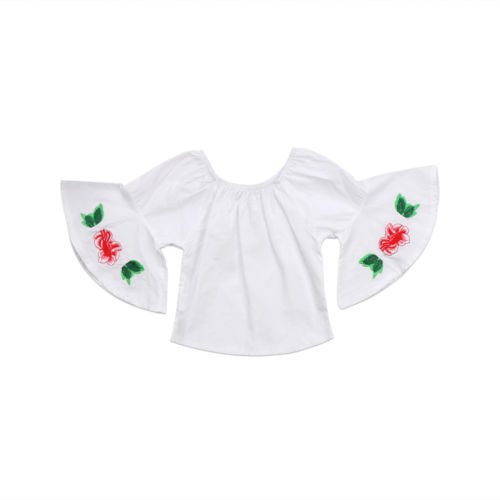 c997c712c92b Baby Clothing Newborn Baby Girls Ruffle Clothes Long Sleeve 3D Rose Flower  Off Shoulder Tops T