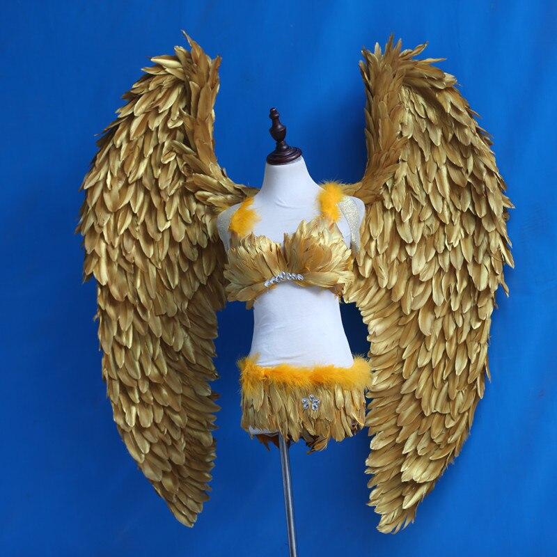 Большой Золотой Ангел перо Крылья для моделей-show Performance Показать Косплей свадебный обычай перо золотые крылья Бесплатная доставка