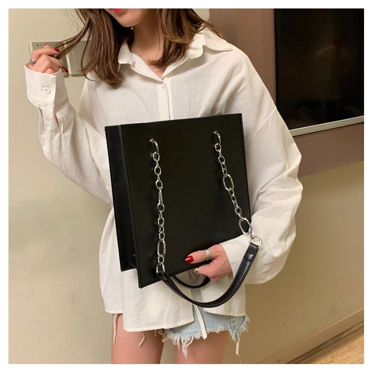 Retro bolsa de couro 2019 mulheres simples