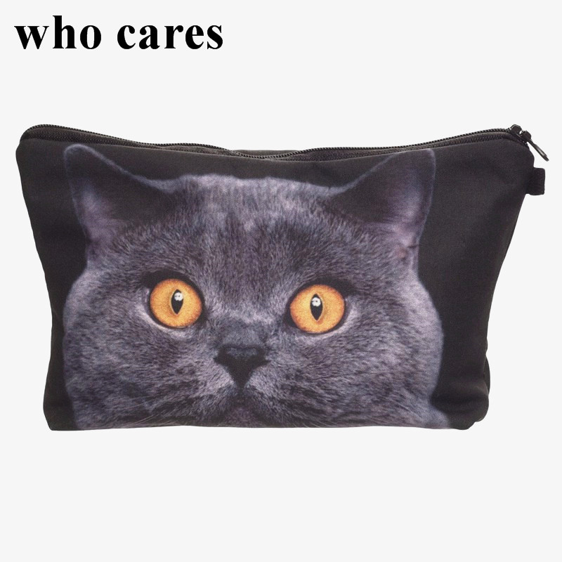 Shock blue cat 3D Printing makeup bag 2018 who cares pencil trousse de maquillage women toiletry bag travel pencil bags neceser who cares about particle physics