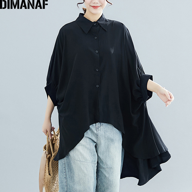 Plus Size Women Blouse Tunic Solid  color Loose Casual  2