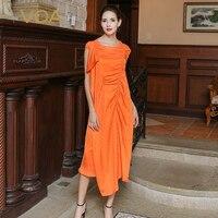 VOA 2017 Summer Silk Jacquard Orange Irregular Party Long Dress Unique Design Plus Size Luxury Casual Women Maxi Dress ALA01601