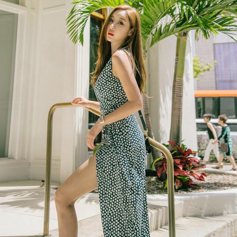 EFATZP 2018 lato kobiety kropki drukuj długi Wrap sukienka panie Maxi plaża sukienki Strand Jurkjes w Suknie od Odzież damska na  Grupa 2