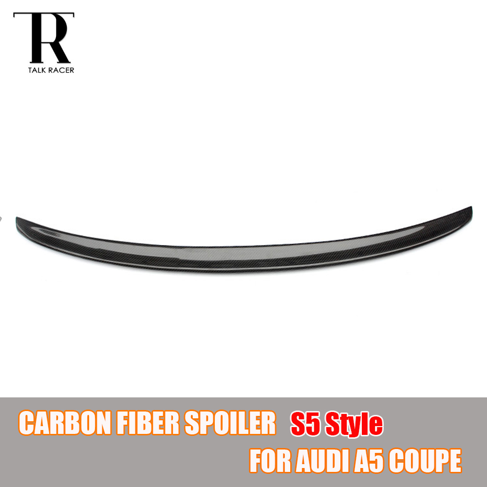 S5 Style A5 Carbon Fiber Rear Wing Spoiler for Audi A5 Coupe 2 Door 2009 - 2016 Auto Racing Car Styling Tail Trunk Lid Lip Wing for audi a5 carbon rear spoiler s5 style carbon fiber rear spoiler rear trunk wing coupe 2 doors car 2013 2014 2015 2016 2017 on