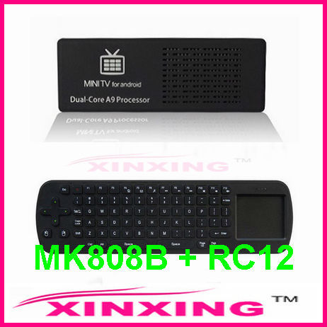 [Factory In Stock] MK808B Bluetooth Android 4.1 Jelly Bean Mini PC RK3066 A9 Dual Core Stick TV Dongle +Air Mouse keyboard RC12
