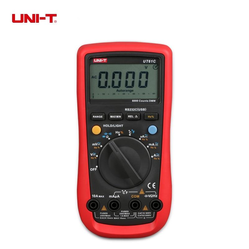 UNI-T UT61C Modern Digital Multimeters Auto Range For Voltage,Current,Resistance,Capacitance,And Temperature Measurement uni t ut30c original authentic data handed hold digital multimeters temperature test