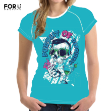 FORUDESIGNS Skull Printed T-Shirt for Women Cool Customize Picture Tee Tops Female Casual Summer Tshirt