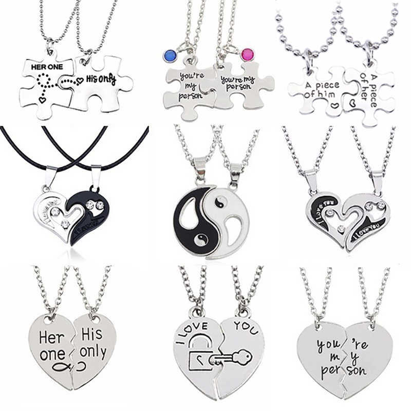 2 Pcs Couple Heart Puzzle Necklace Set Silver Yin Yang Tai Chi Pendant Necklace For Lovers Forever Girl/Boyfriend Valentine Gift
