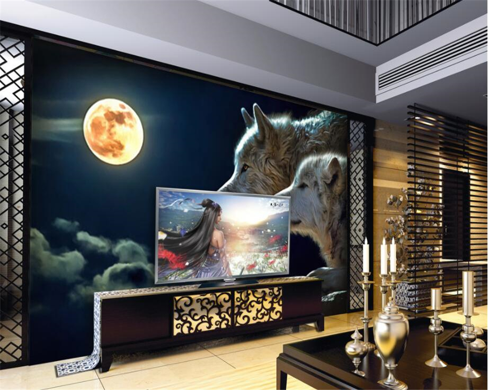 Beibehang Custom Wallpaper Modern Simple TV Backdrop Moonlight Wolf Mural House Decorative Living Room Bedroom 3D Wallpaper