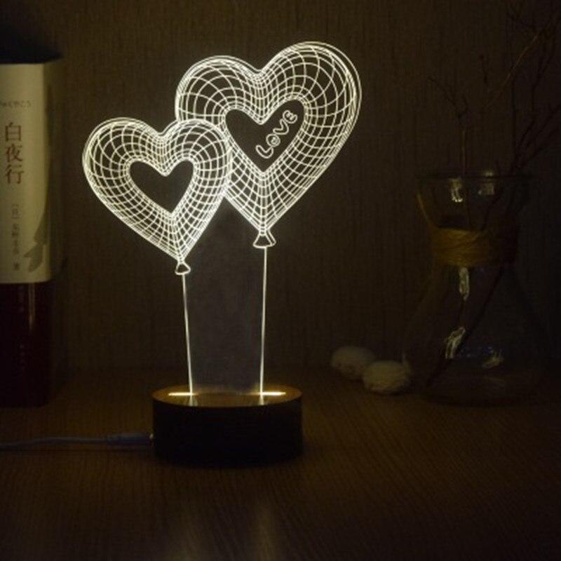 Love/Роза 3D Ночная Романтический подарок ко Дню Святого Валентина Модные светодиодный настольная лампа пара спальня ночники украшения дома