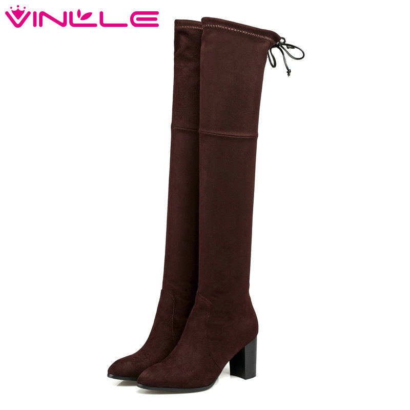 VINLLE 2016 Western Style Flock Women Boots Over The Knee Boots Winter Square High Heel Ladies