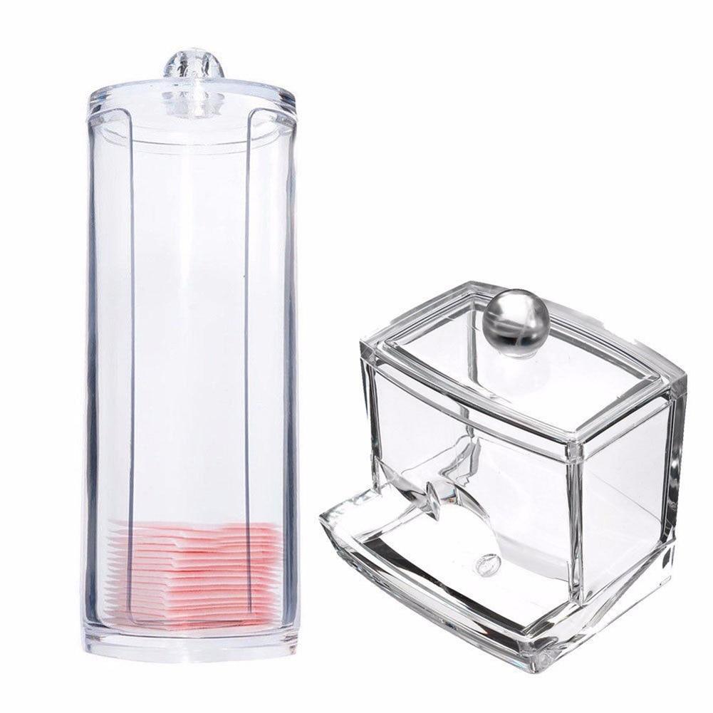 Transparent Round Container Storage Case Makeup Cotton Pad Box + Acrylic Cotton Swab Storage Holder Box E2S
